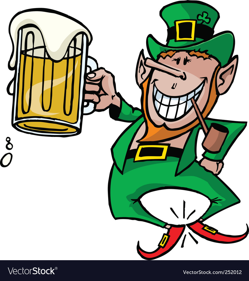 leprechaun with beer royalty free vector image