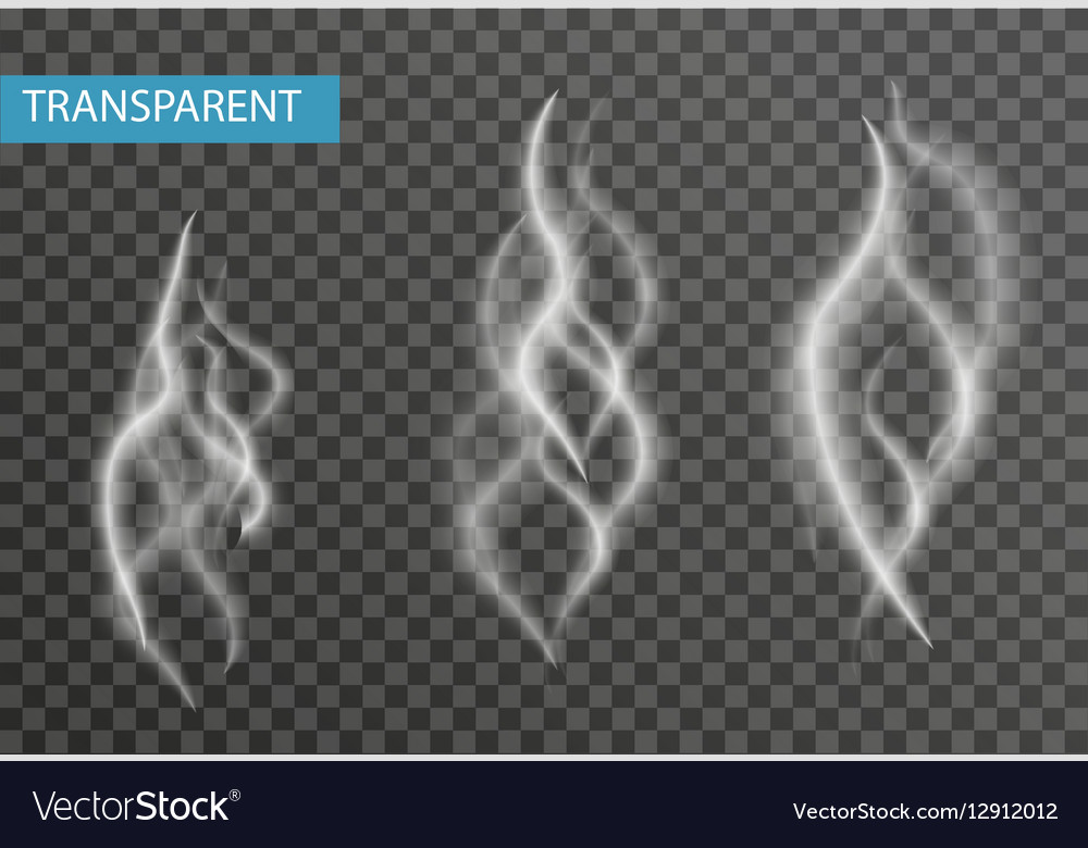 Realistic smoke set isolated on transparent vector image