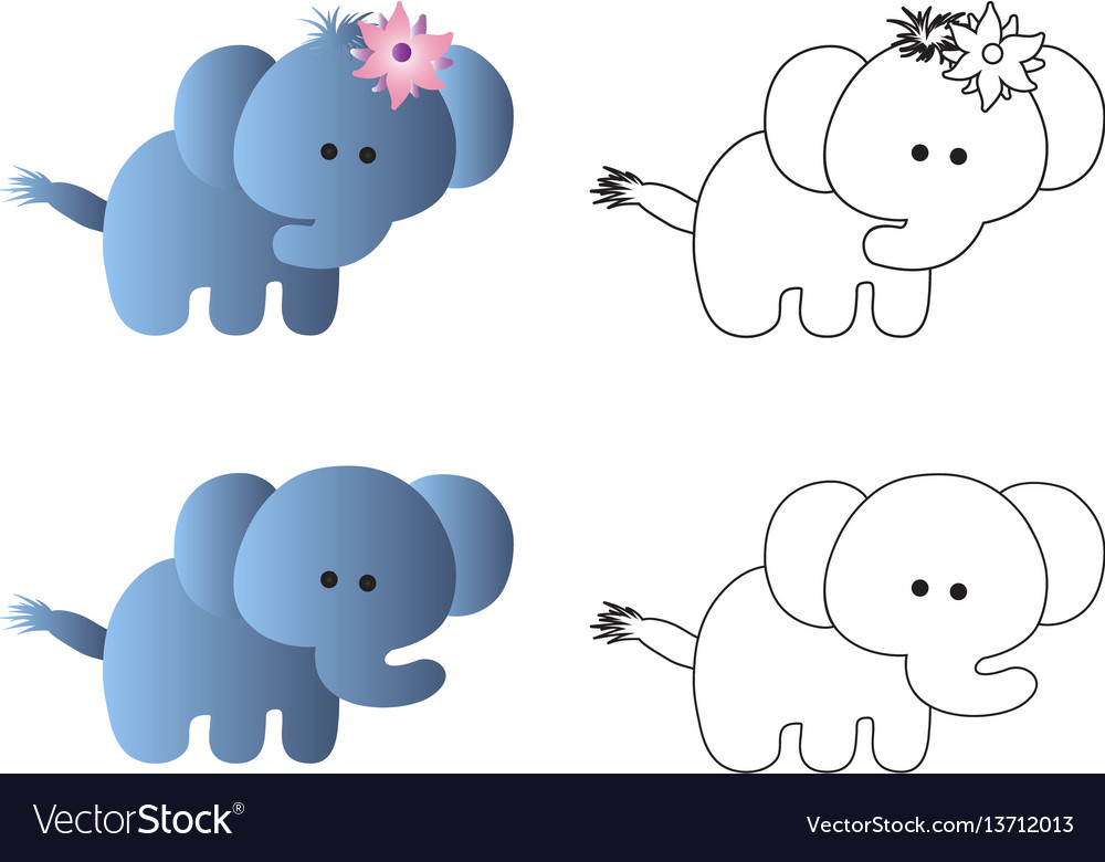 Drawing of a cartoon cute toy baby elephant vector image