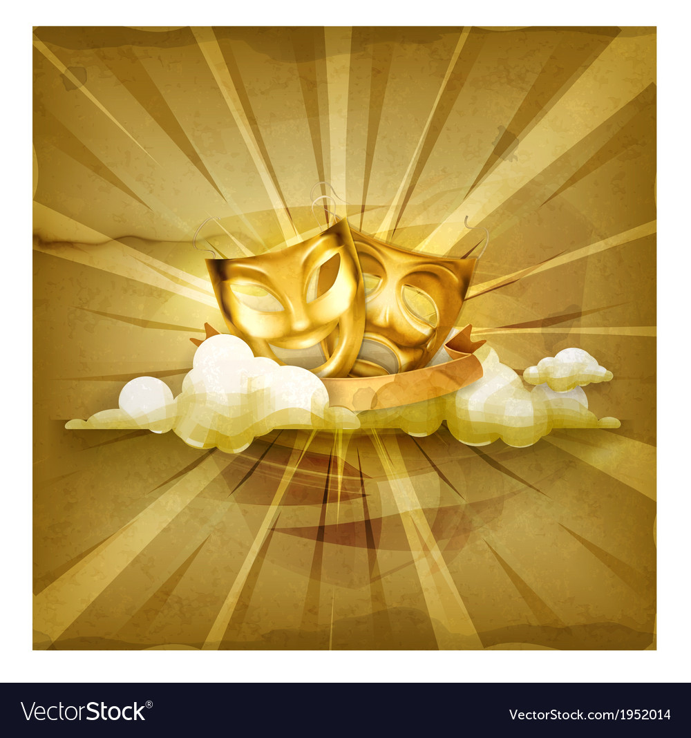 Gold theater masks old style background vector image
