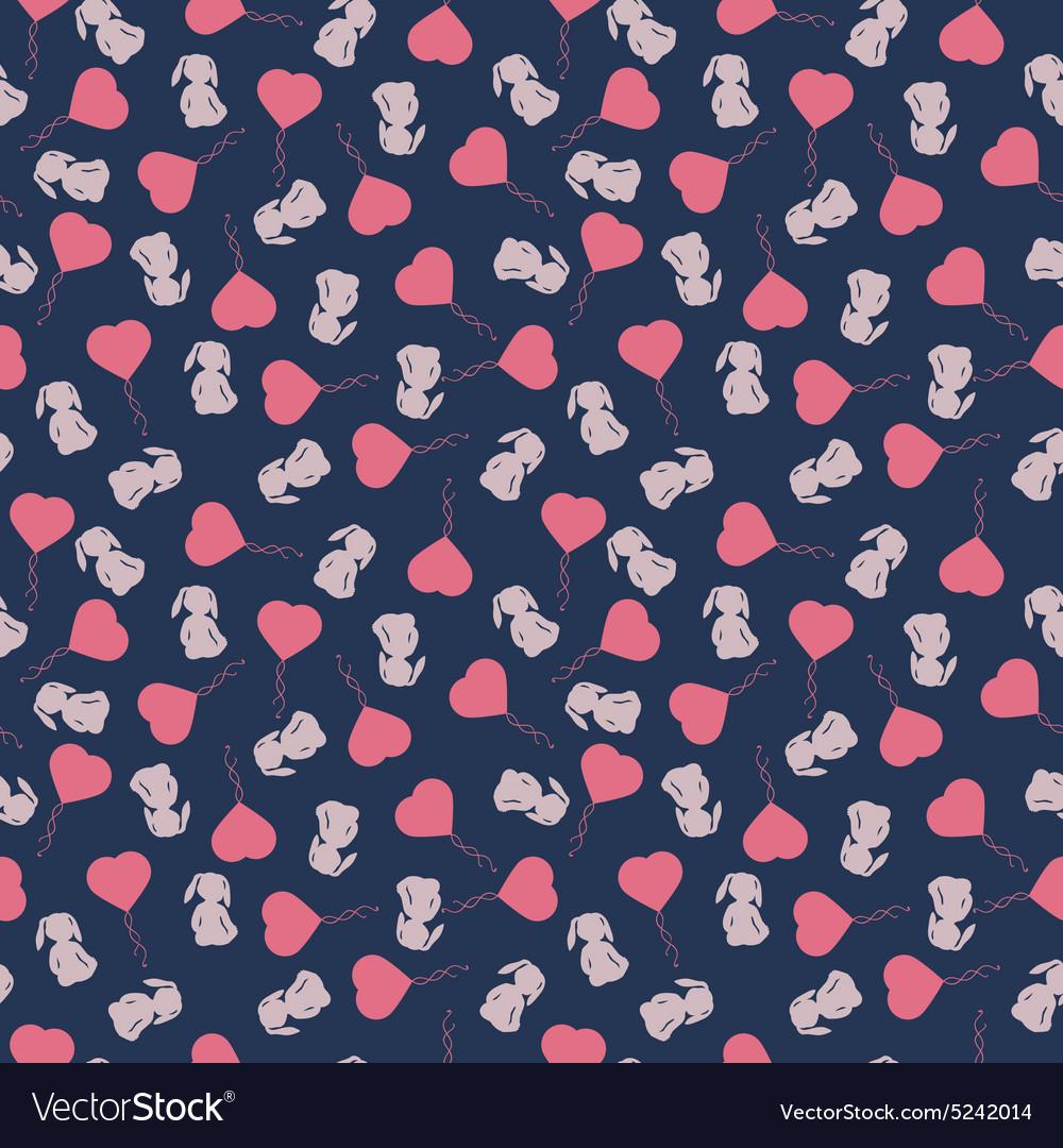 Seamless pattern with cute cartoon rabbit vector image