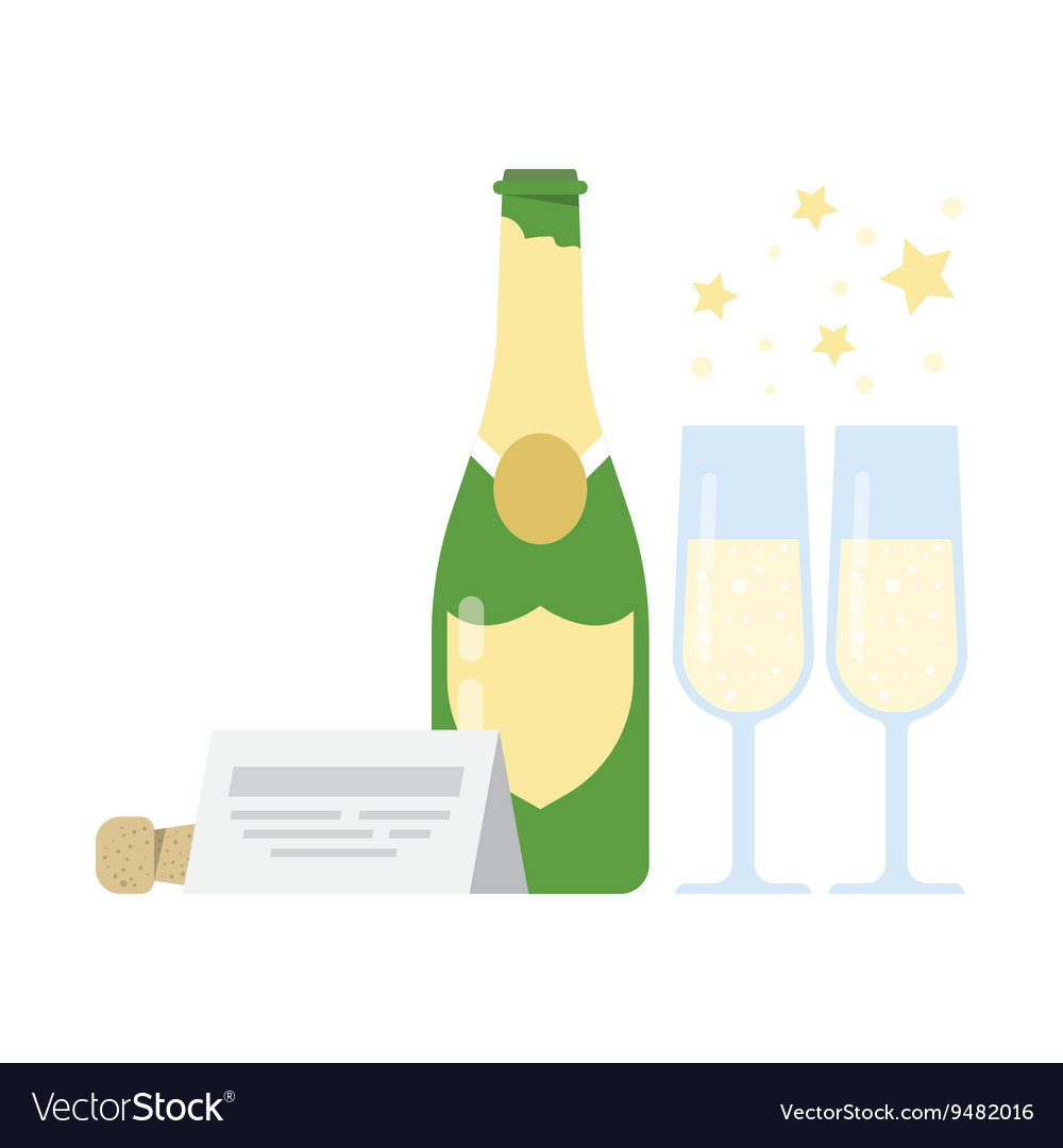 Bottle of champagne and two glasses vector image