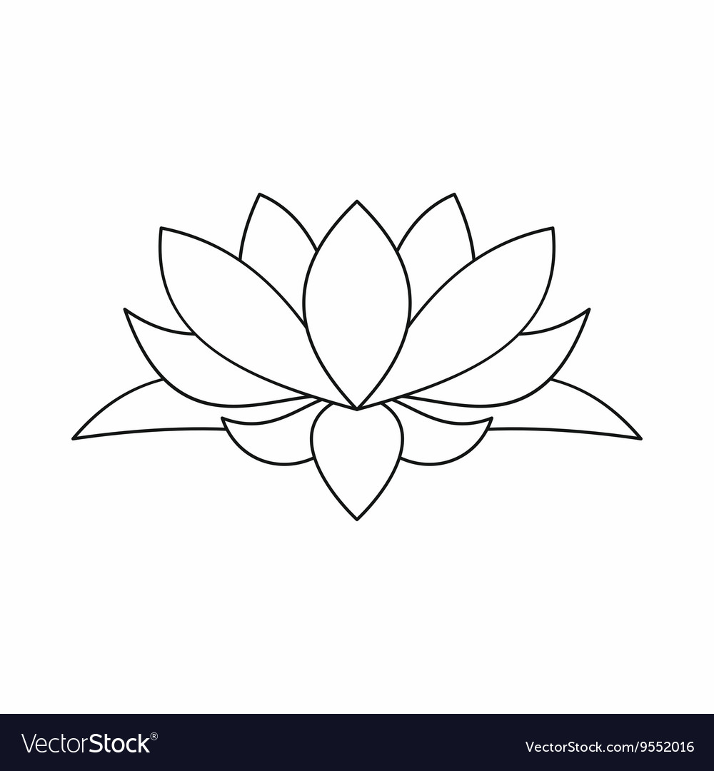 15 lotus flower outline images lotus flower icon outline style vector mightylinksfo