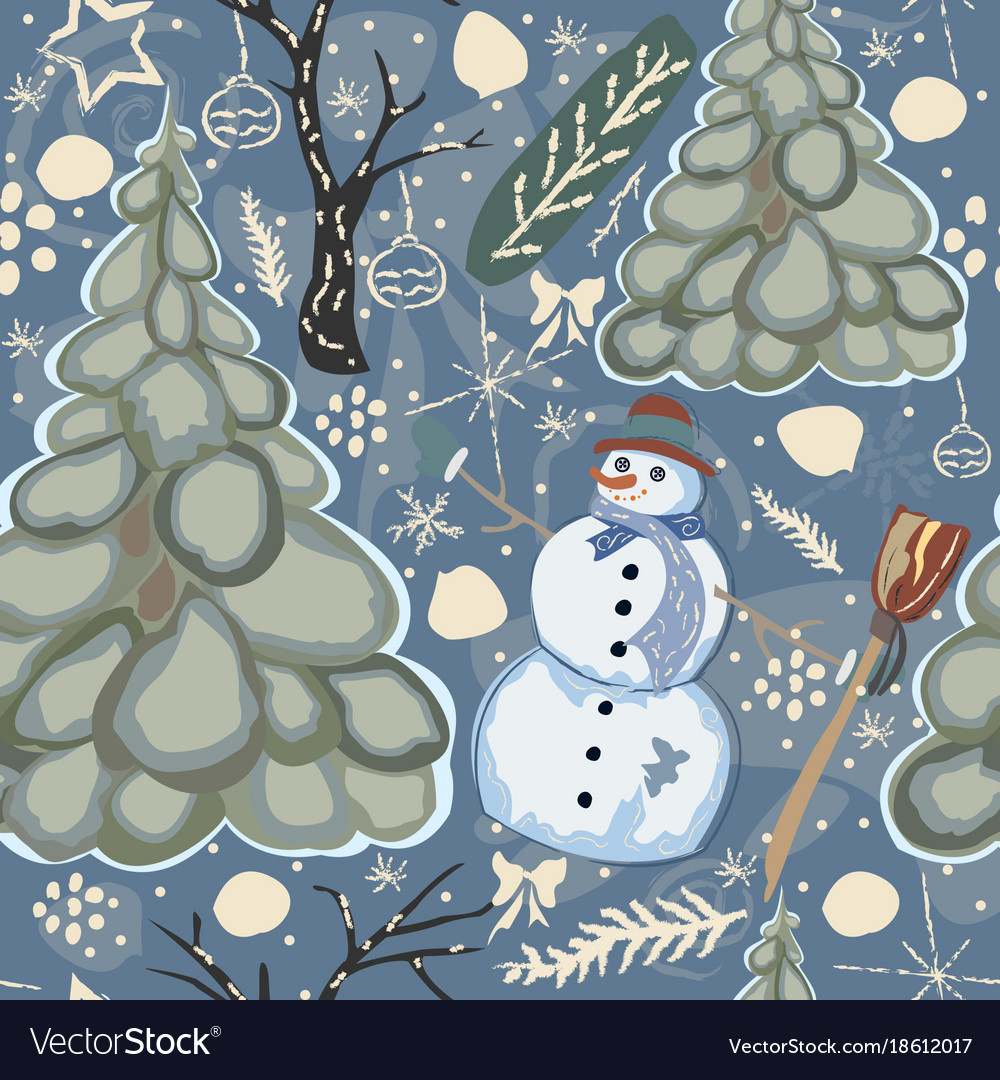 Colorful winter pattern with snowman vector image