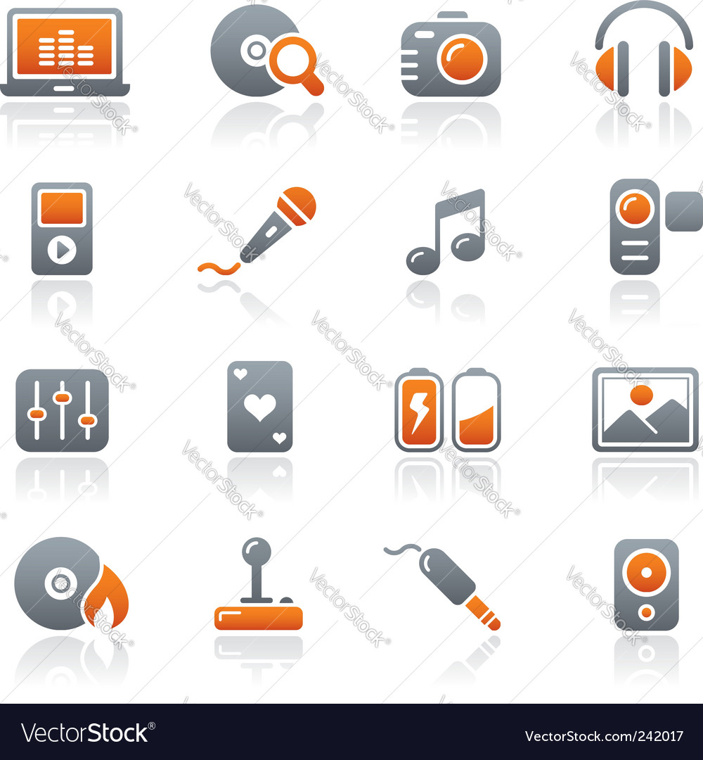Media and entertainment icons vector image