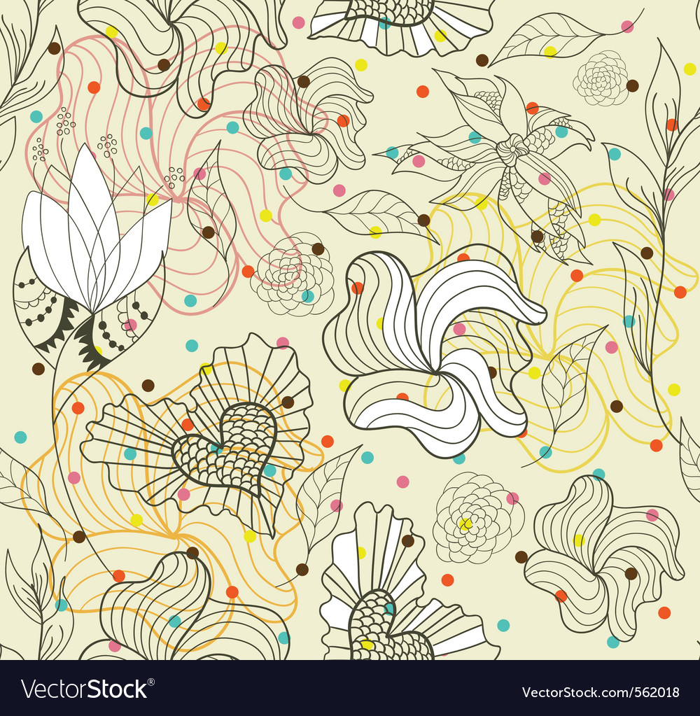 Seamless flowers and hearts pattern vector image