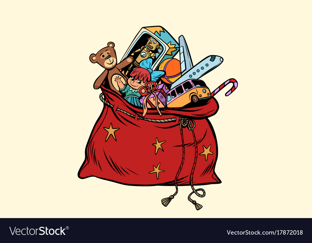 Santa sack with christmas gifts and toys vector image