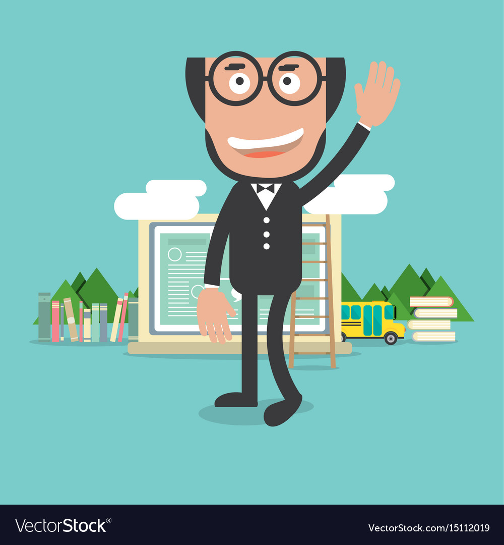 Happy bald head teacher with education concept vector image