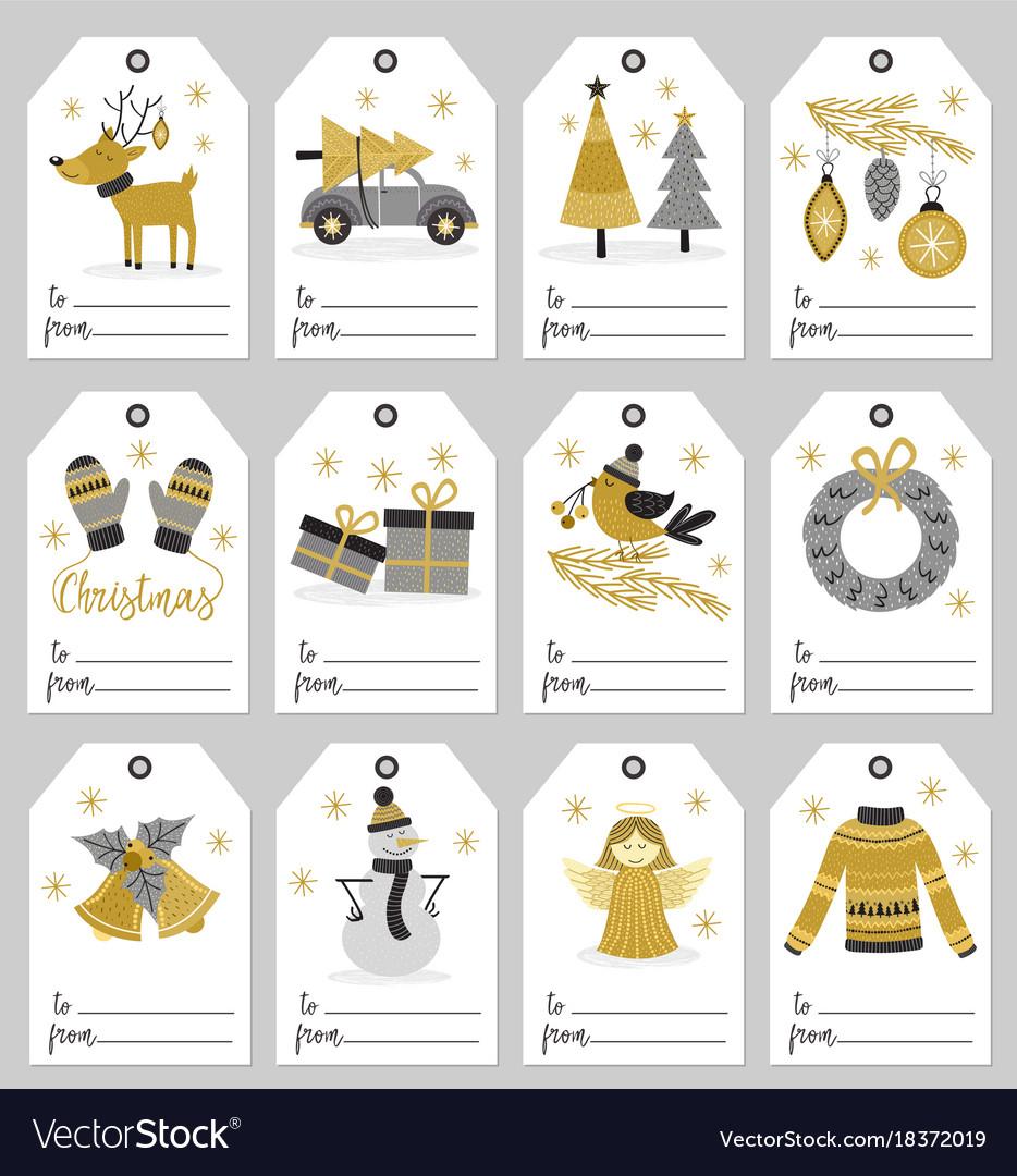 Set of christmas gift tags vector image