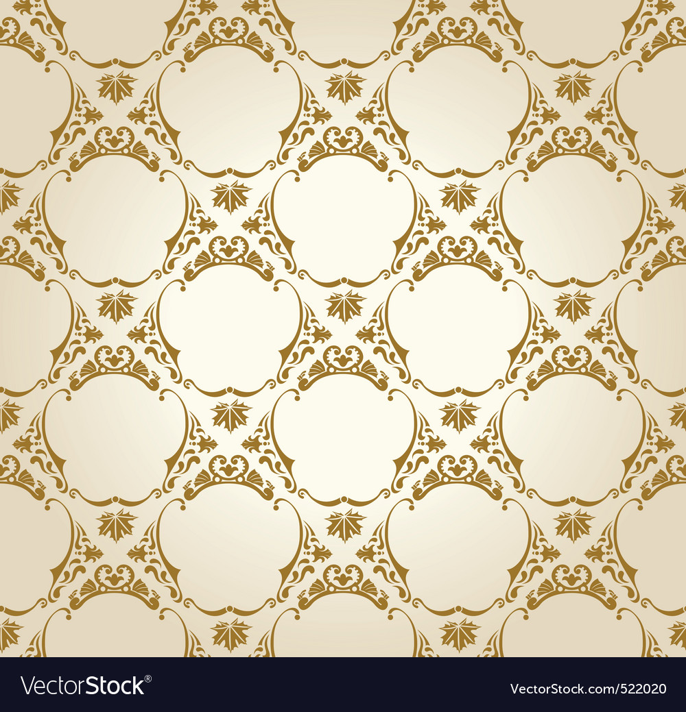 Seamless wallpaper background vintage gold vector image