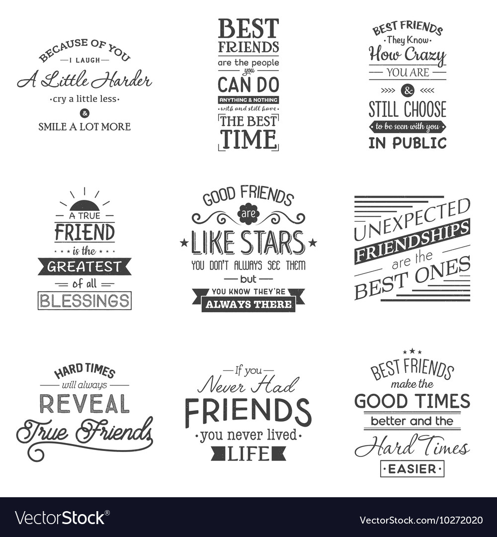 Friendship Is About Quotes Friendship Typography Quotes Royalty Free Vector Image
