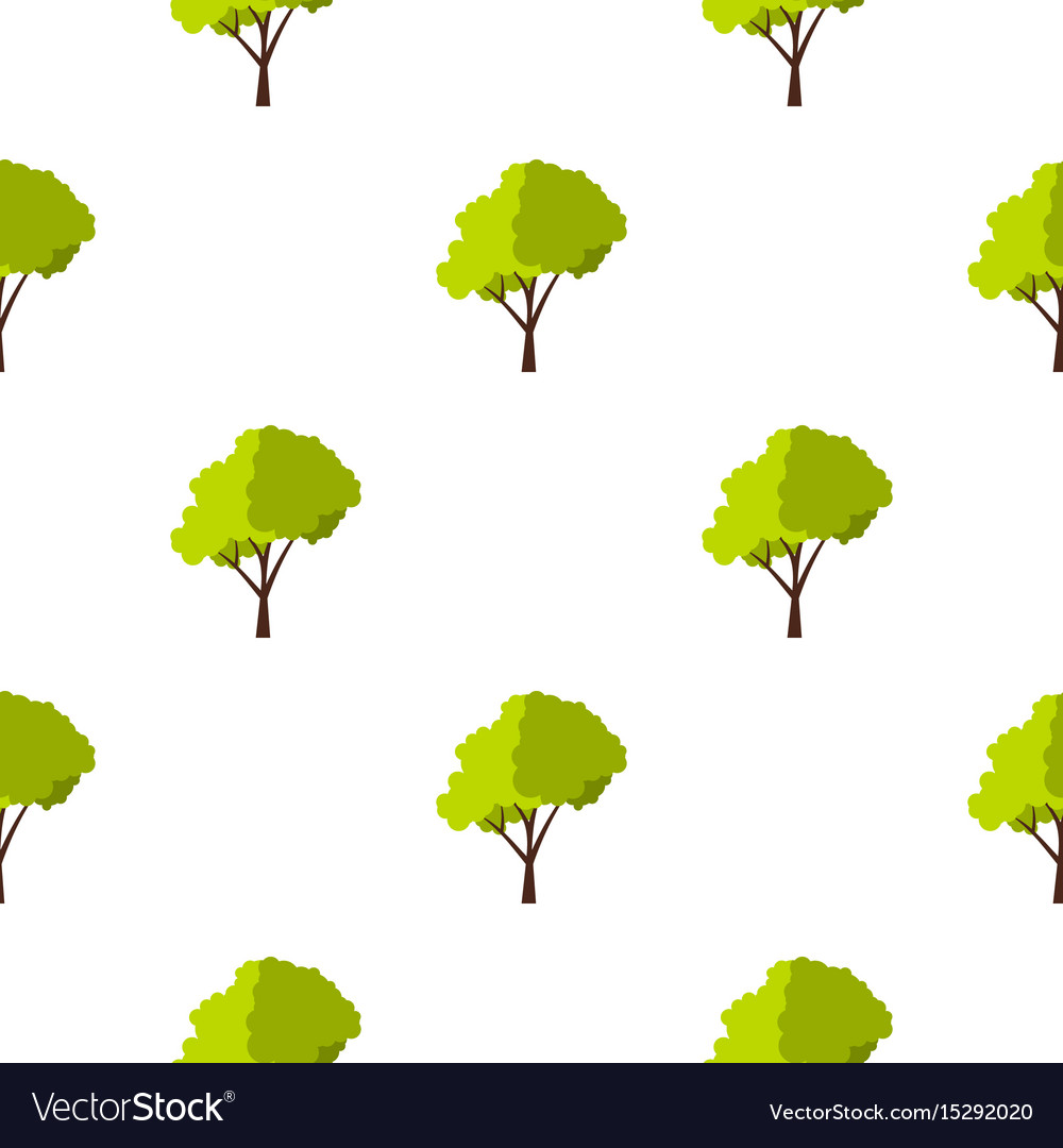 Green tree with fluffy crown pattern flat vector image