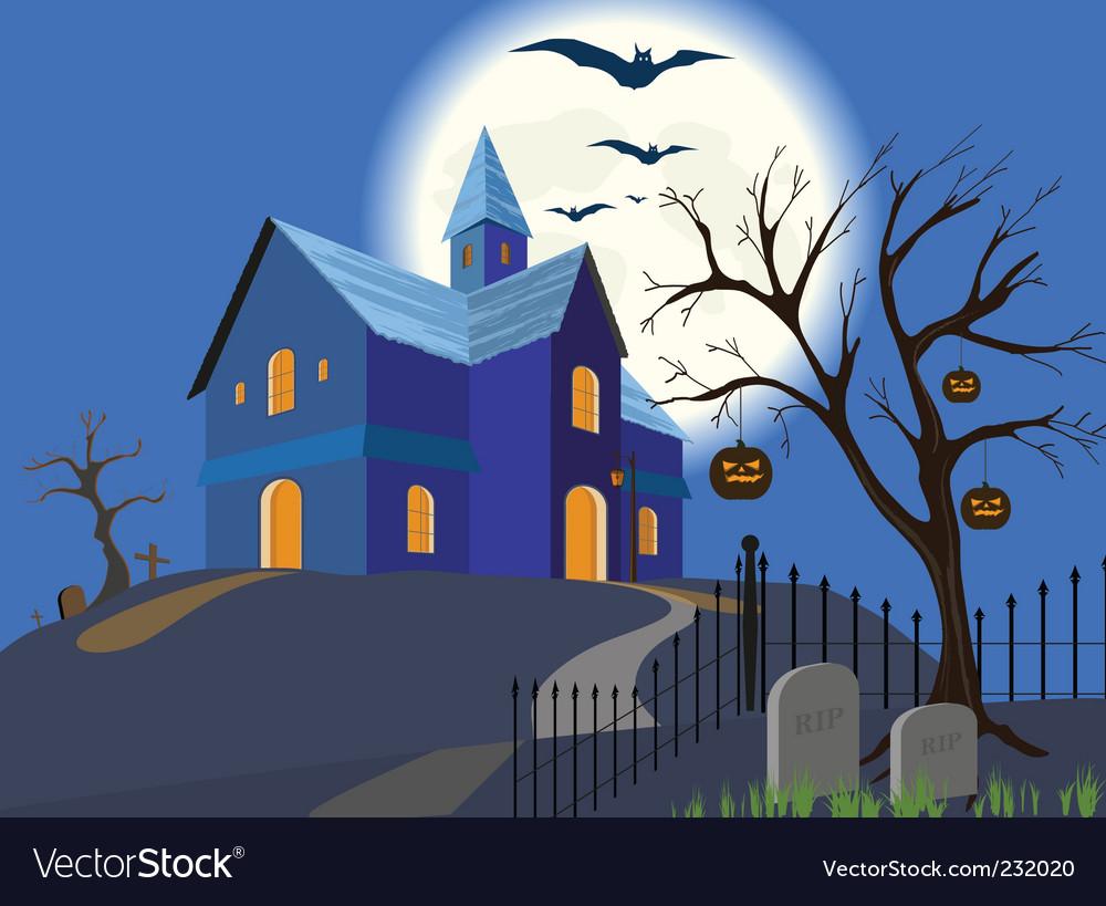 Halloween pumpkin and house eps vector image
