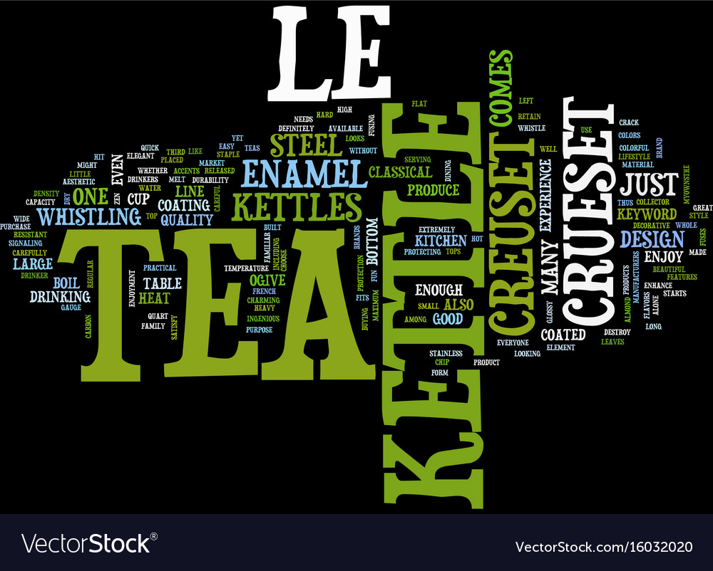 Le crueset tea kettle text background word cloud vector image