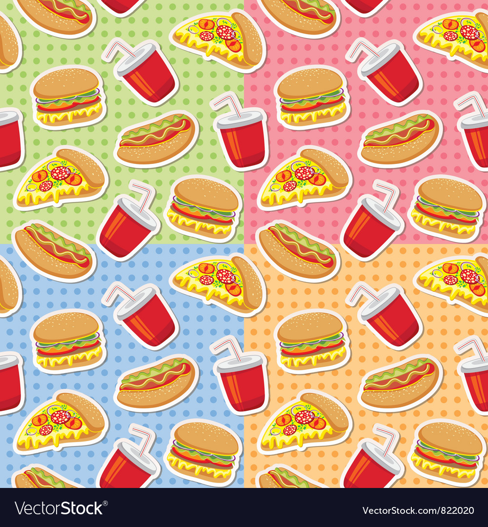Patterns with fast food vector image