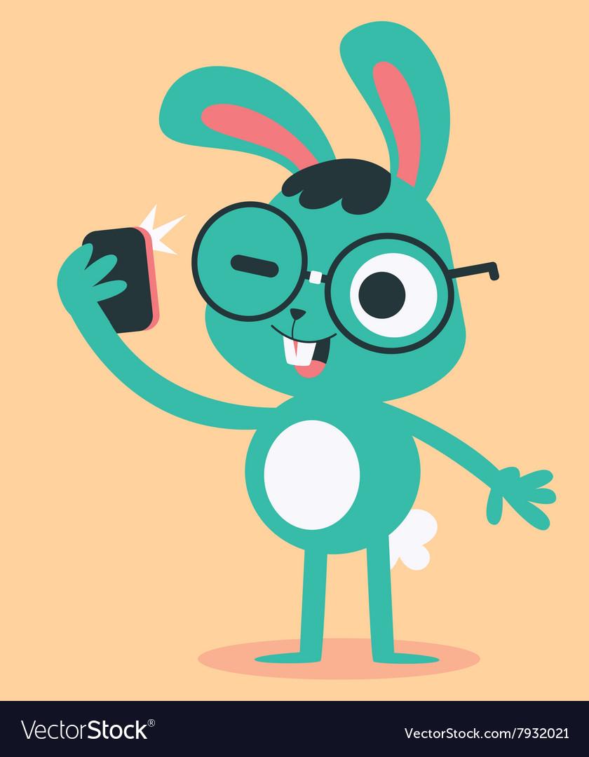 Nerd Bunny Taking a Selfie vector image