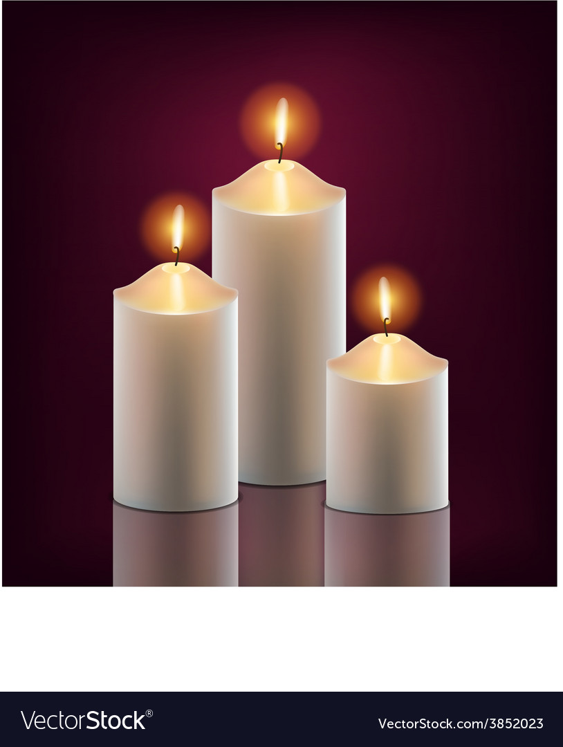 3 white burning candles in the dark vector image