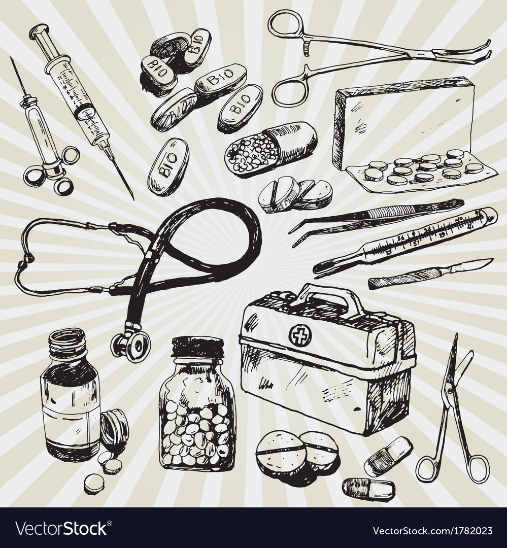 Medical stuff hand drawn vector image