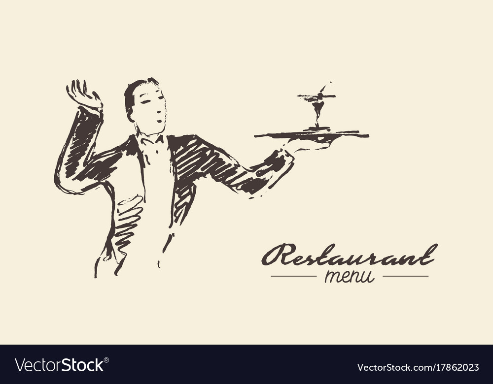 Waiter holding tray cocktail drawn sketch vector image