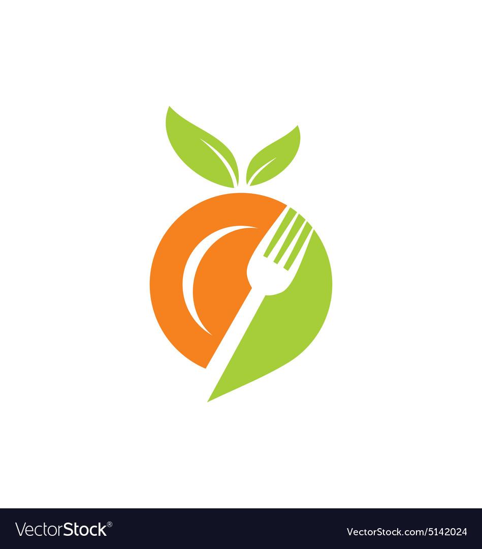 Plate food leaf vegetarian logo vector image