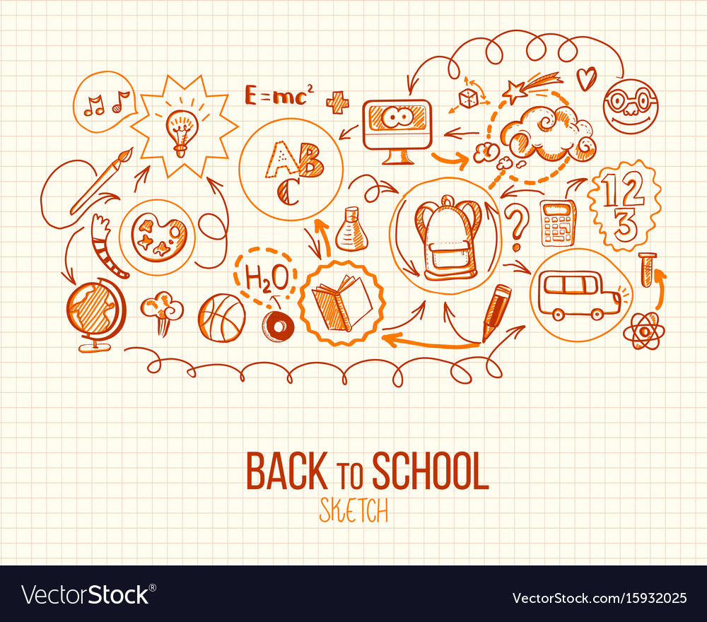 Back to school infographic in retro style vector image