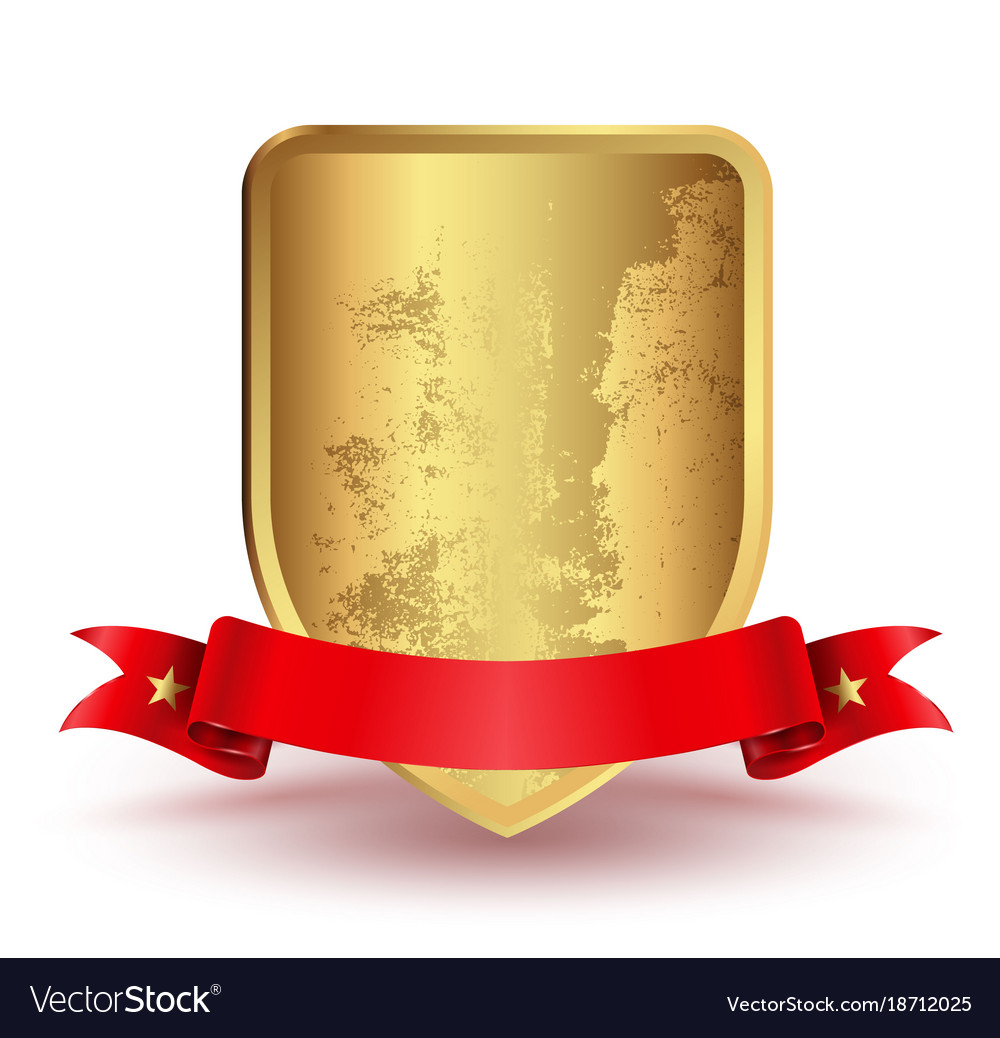 Badge shield with red ribbon vector image