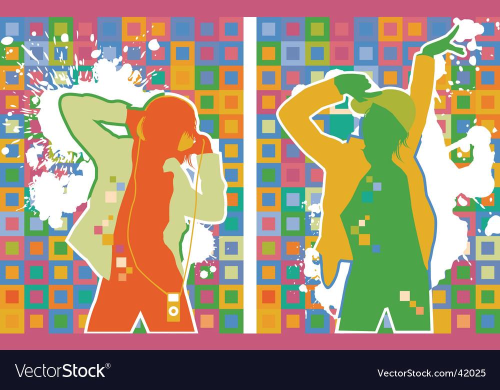 Pop artist dancers vector image