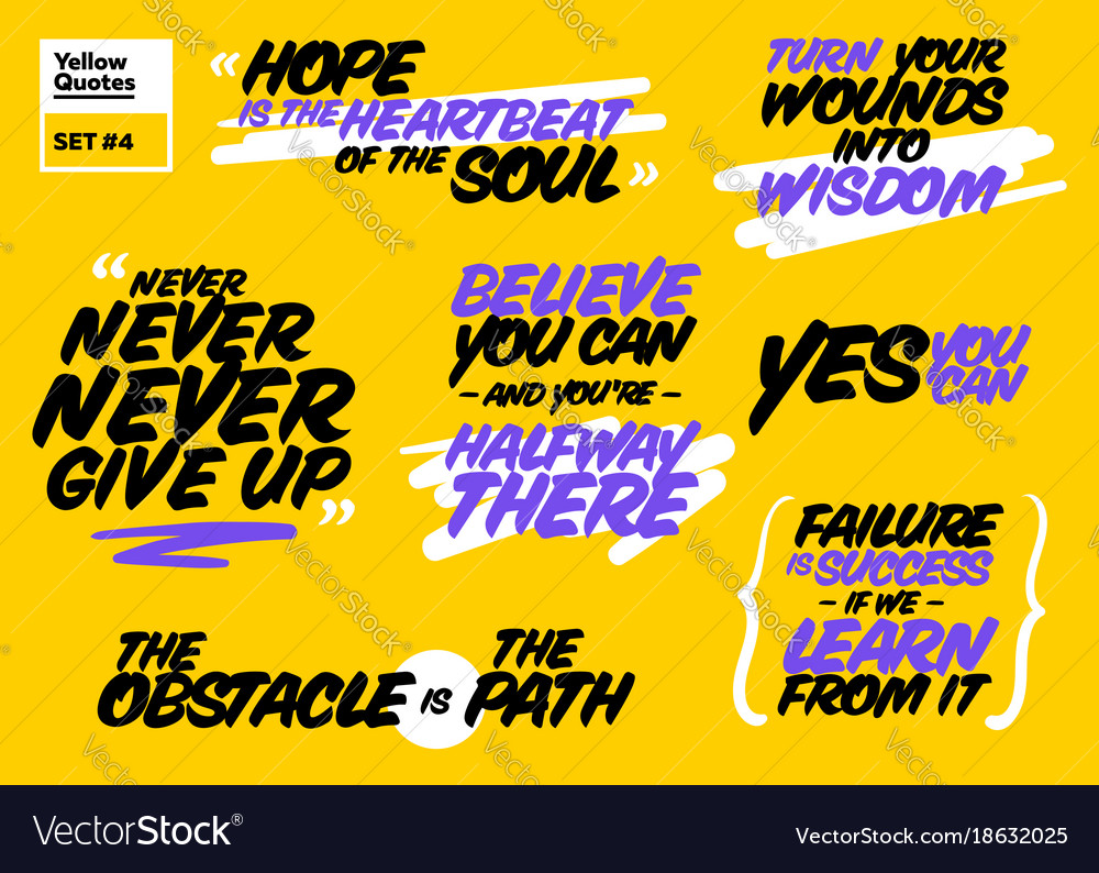 Short Positive Quotes Set Of Short Positive Quotes Motivational Cards Vector Image