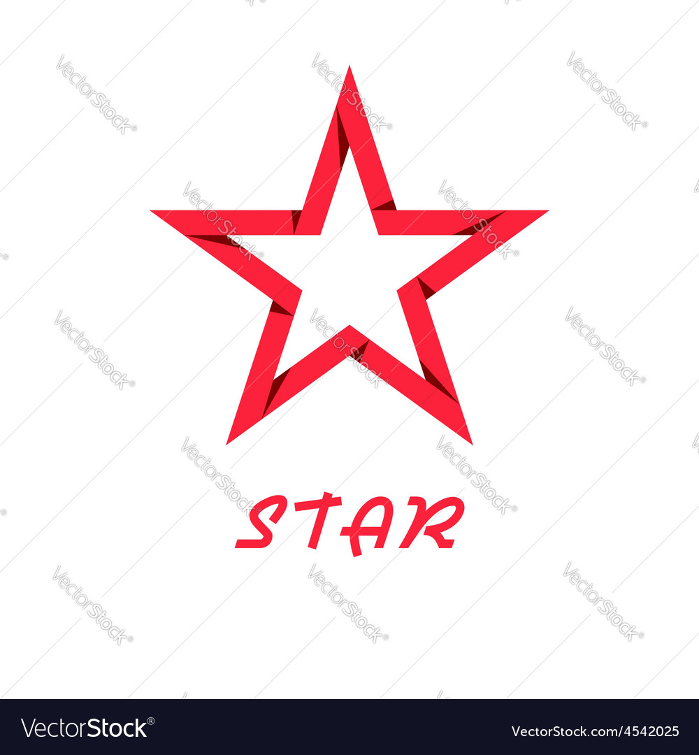 Star red of paper design logo web icon vector image