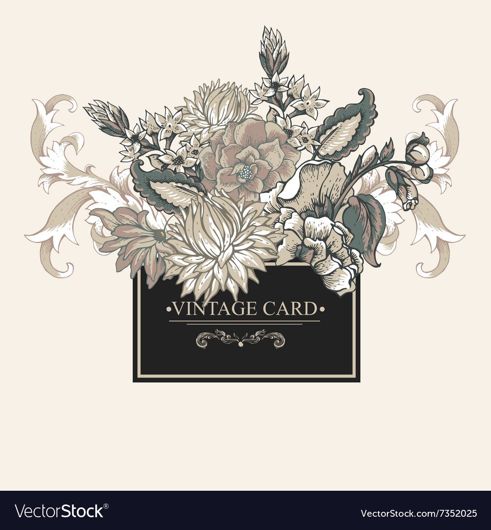 Vintage baroque greeting card with swirls flowers vector image