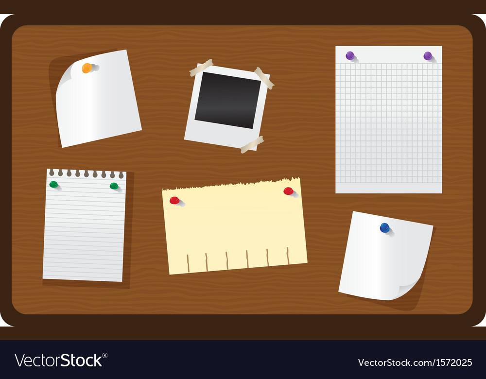 Wooden bulletin board vector image