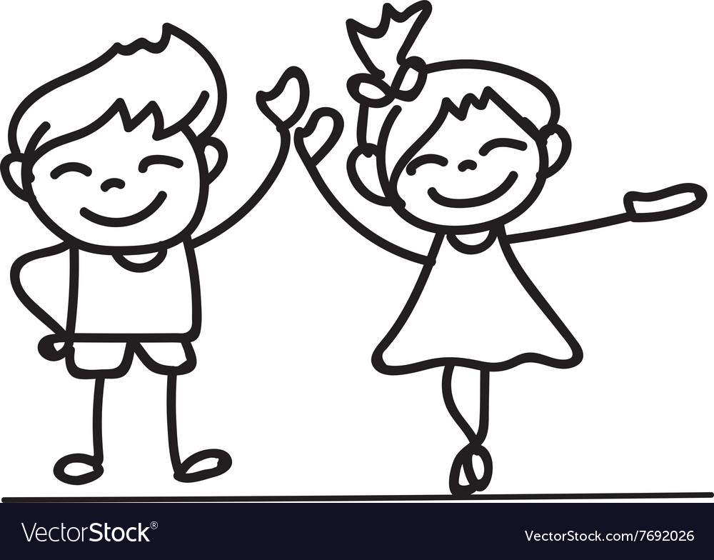 hand drawings cartoon happy kid happiness concept vector image - Kid Cartoon Drawing