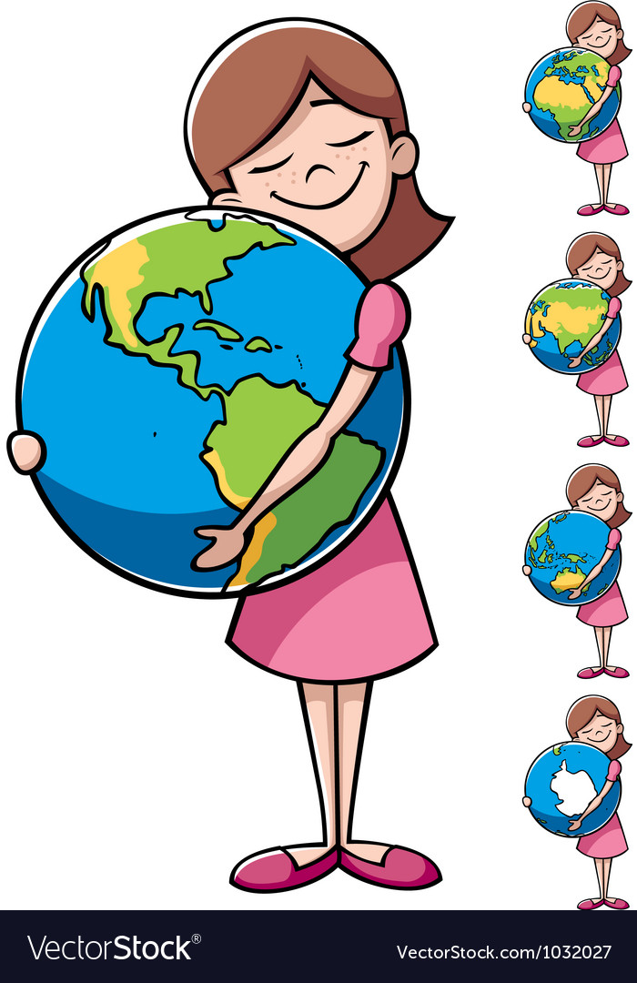 Child and Earth vector image