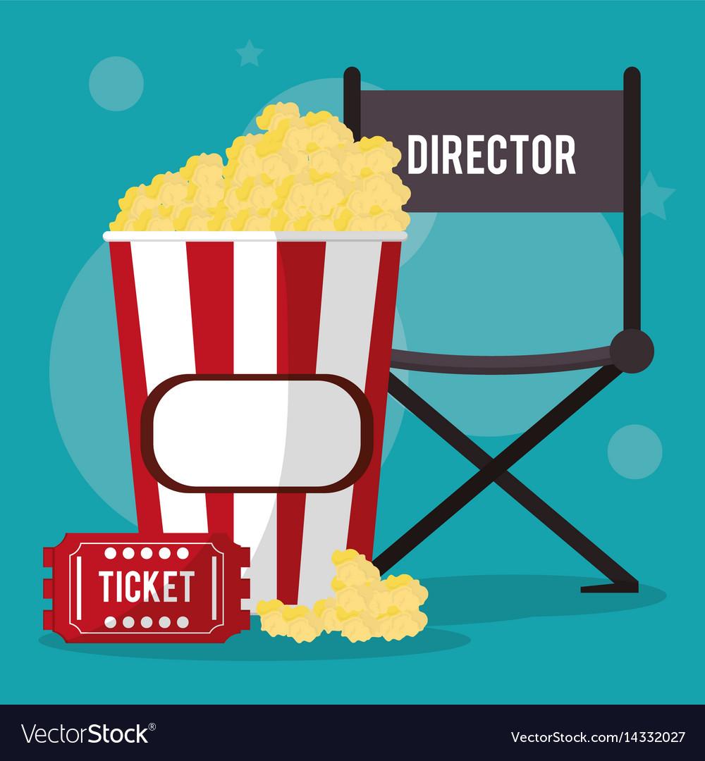 Cinema director chair pop corn and ticket vector image