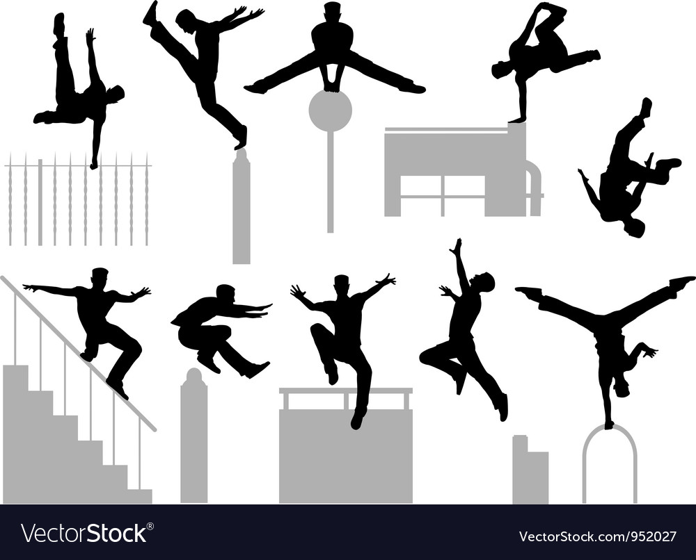 Parkour poses vector image