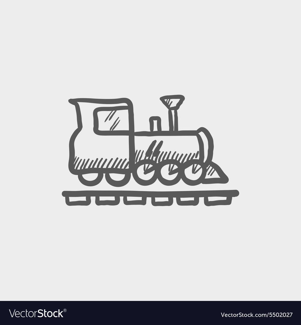 Railroad train sketch icon vector image