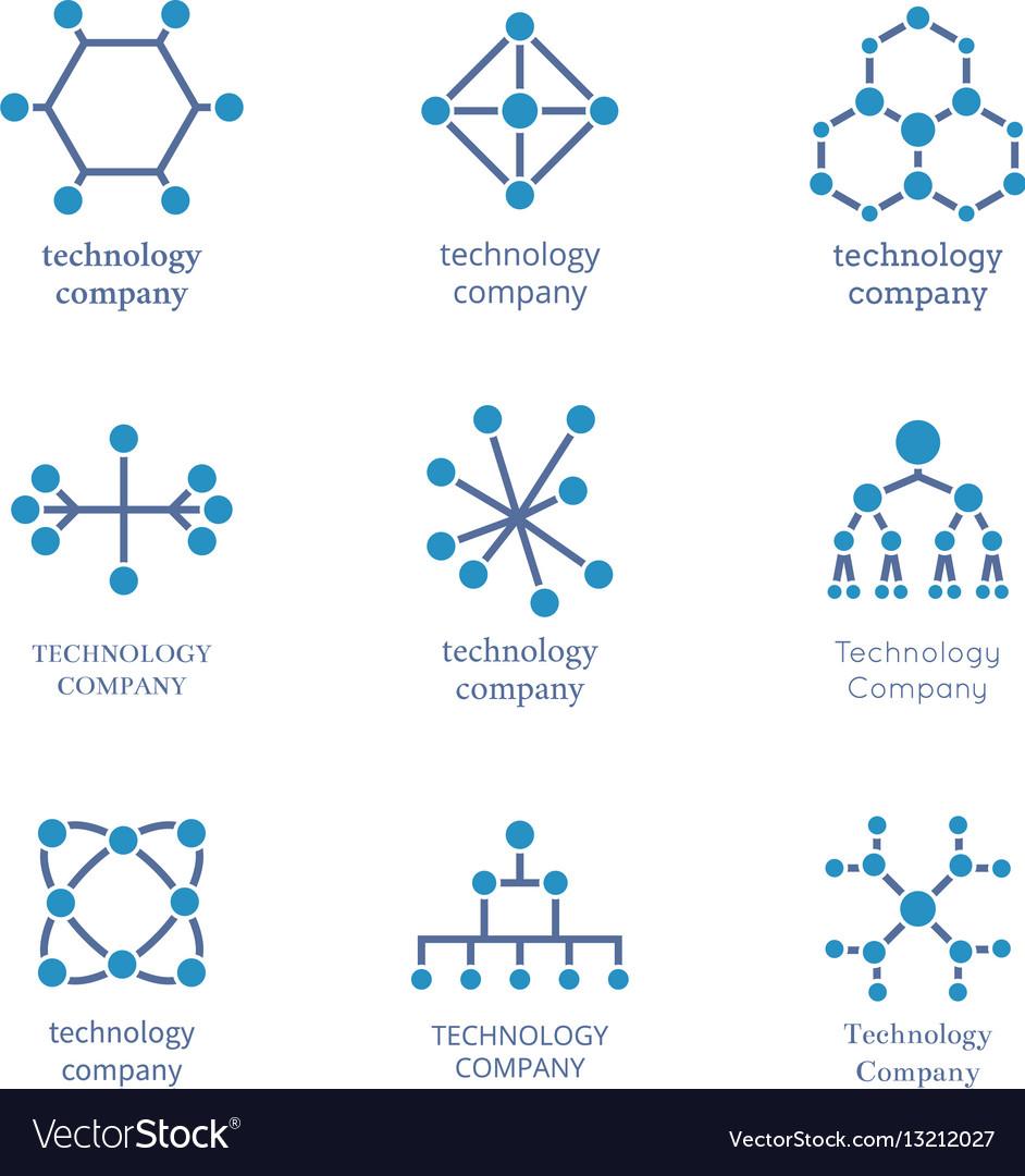 Technology company logo set technological vector image