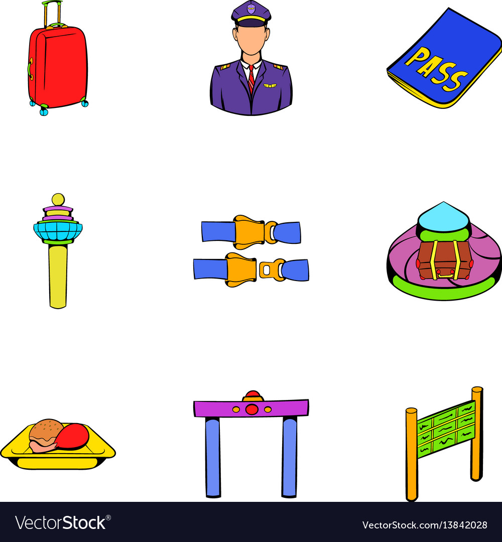 Airplane icons set cartoon style vector image