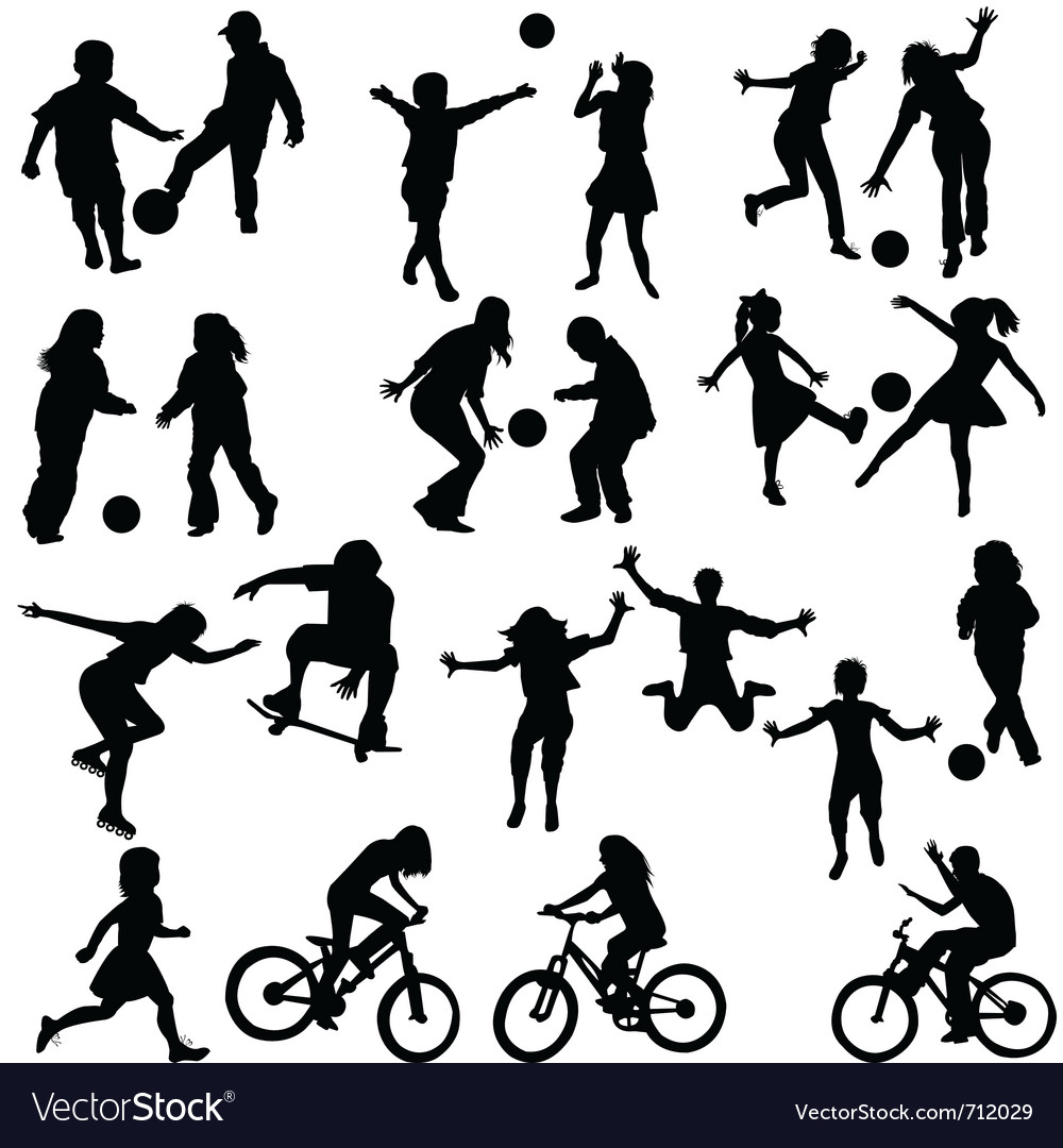 Group of active children Vector Image