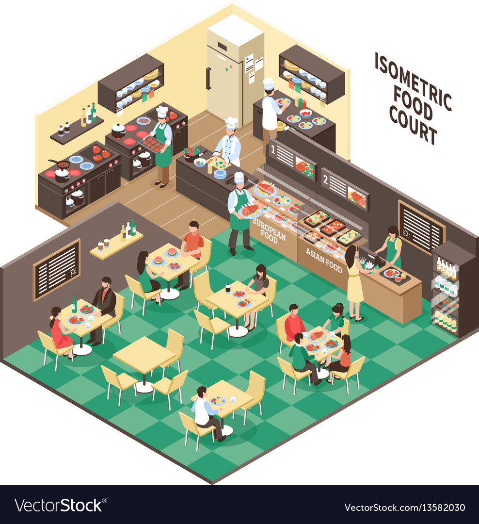 Isometric fastfood restaurant interior vector image