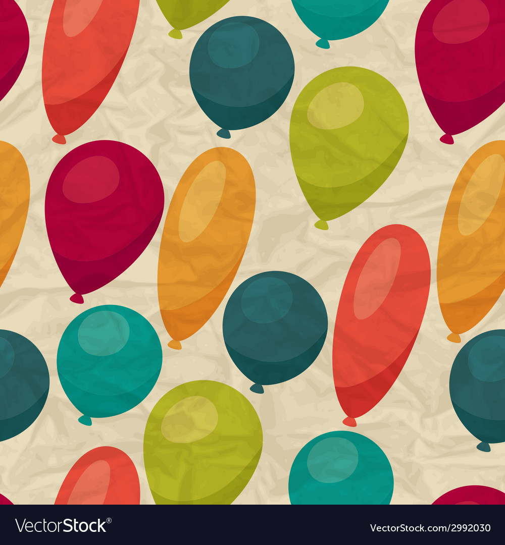 Seamless pattern with balloons on crumpled paper vector image