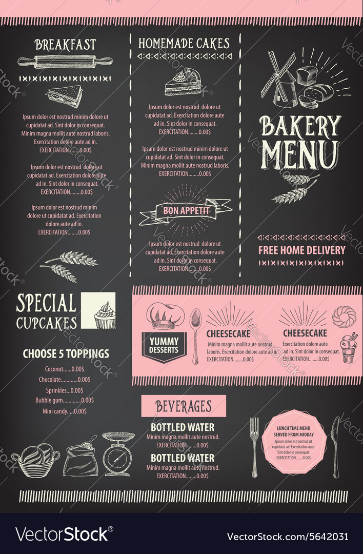 Restaurant Cafe Menu Template Design Food Flyer Vector Image