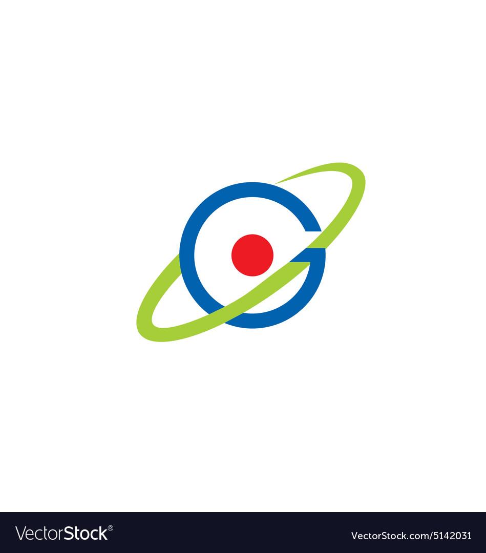 round circle orbit atom global logo royalty free vector