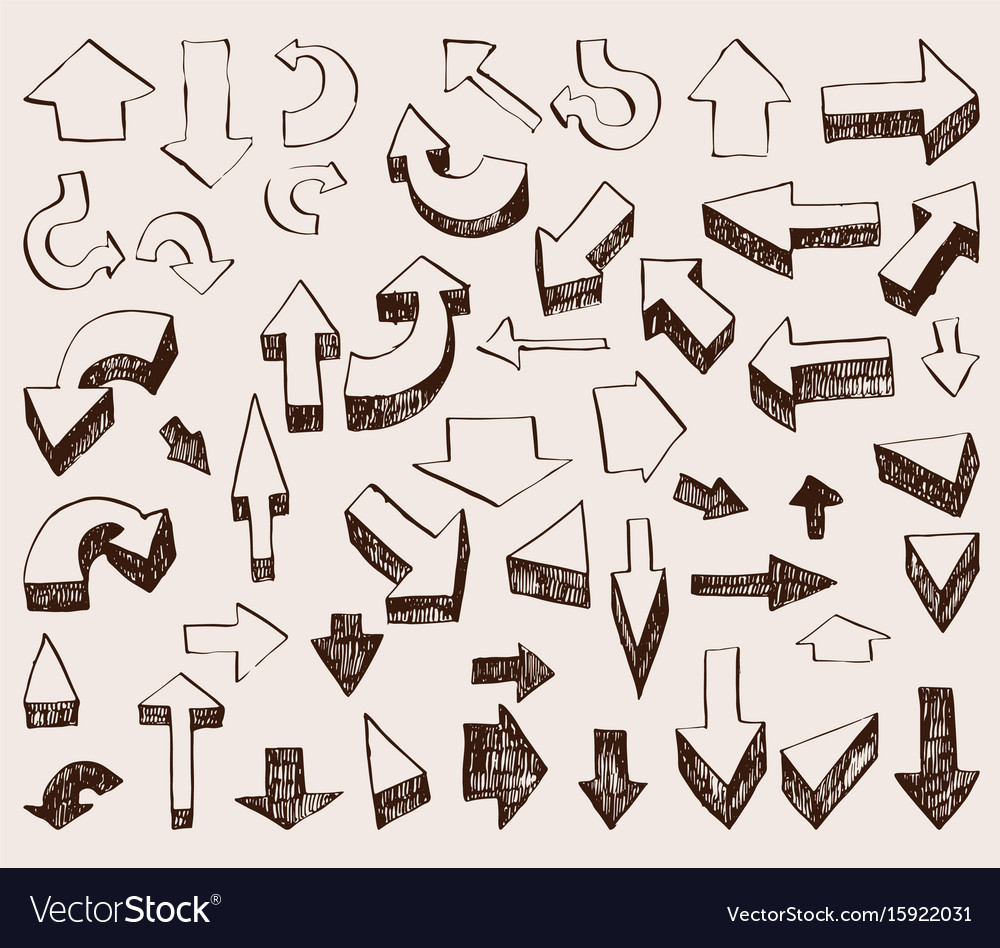 Set of hand drawn arrows and cursors of vector image