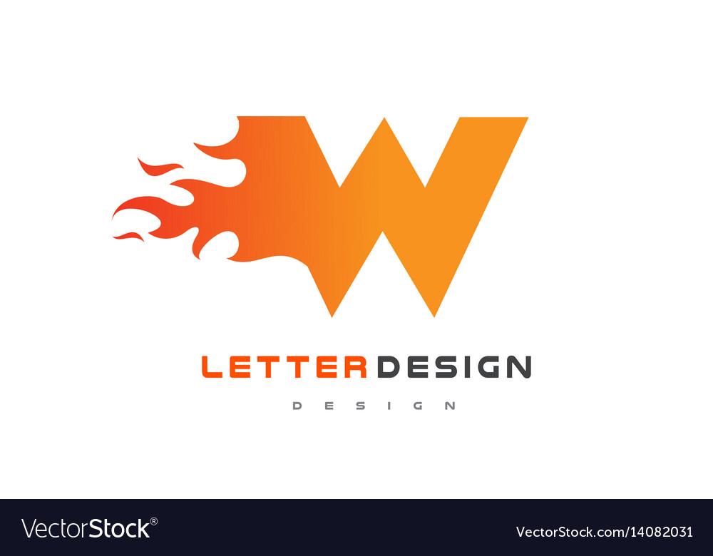 W letter flame logo design fire logo lettering vector image