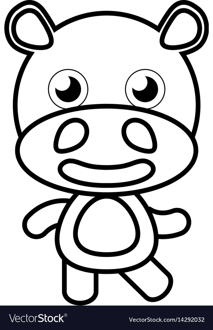 Cartoon hippo animal outline vector image