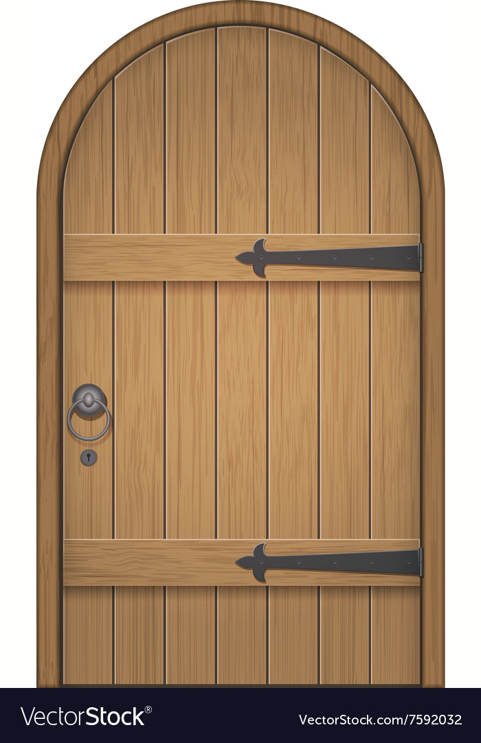 Old wooden arch door vector image & Old wooden arch door Royalty Free Vector Image