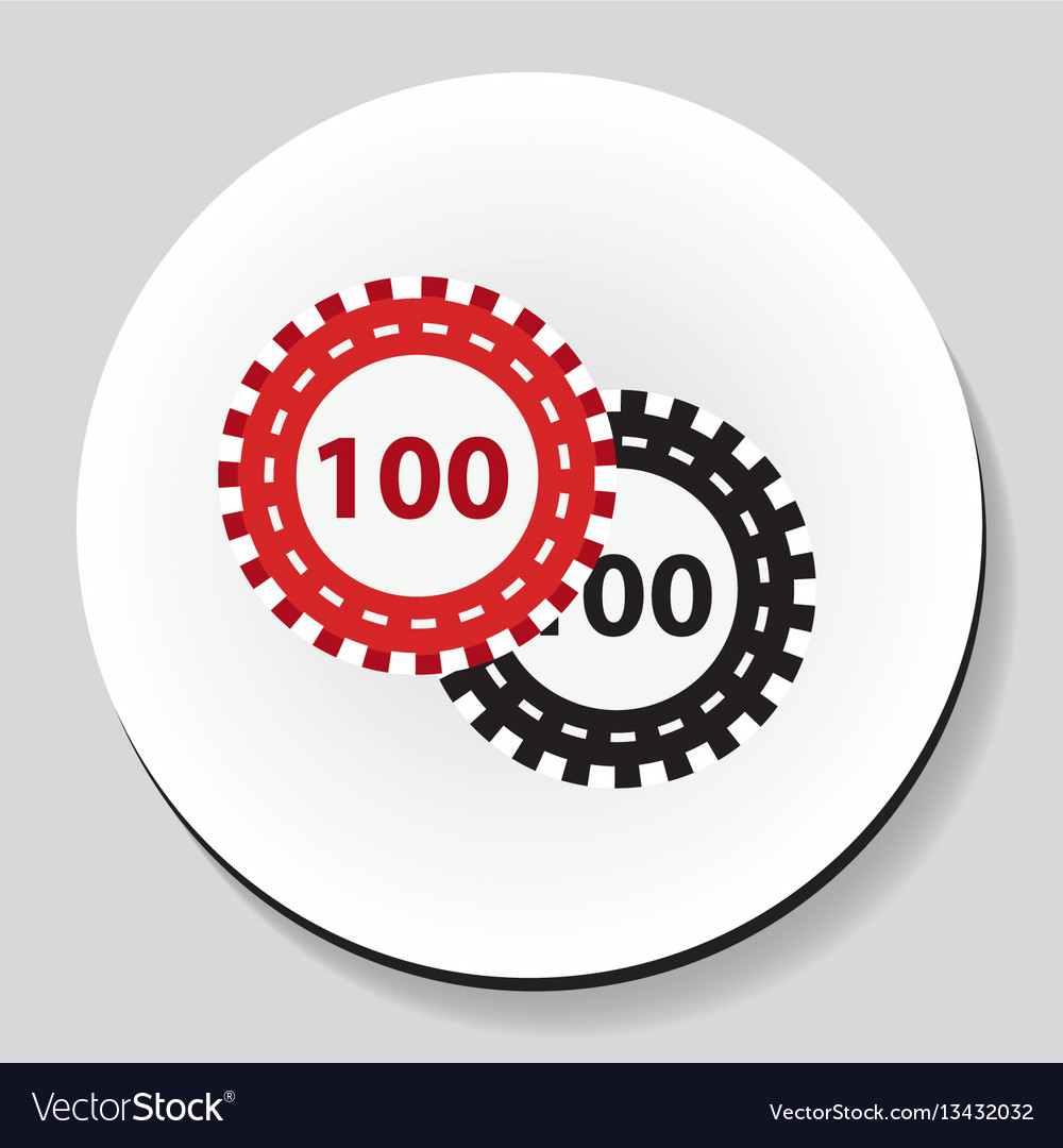 Poker chips sticker icon flat style vector image