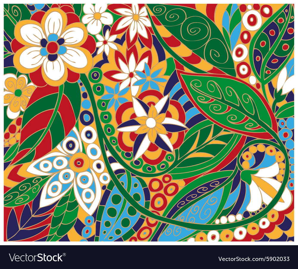 Batik Floral Ornament Royalty Free Vector Image