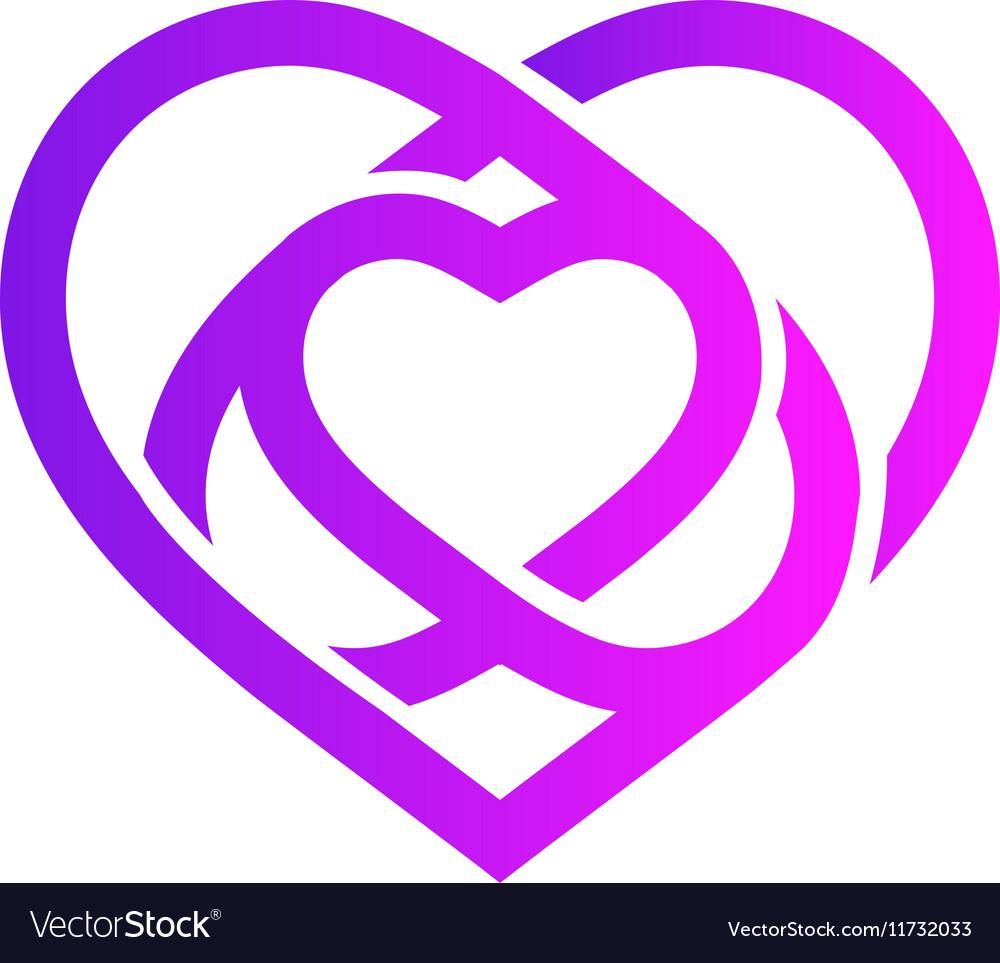 Isolated purple abstract monoline heart logo Love vector image